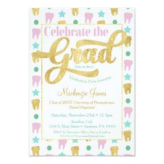 Dentist Graduation Hygienist Pink Gold Invitation