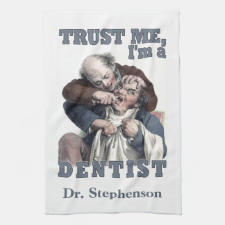 DENTIST humor custom monogram hand towel