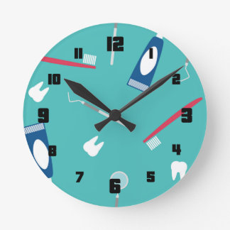 Dentist Instruments Seamless Pattern Round Clock