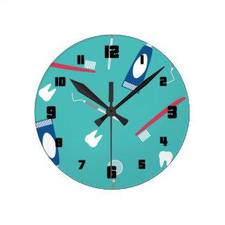 Dentist Instruments Seamless Pattern Wall Clocks