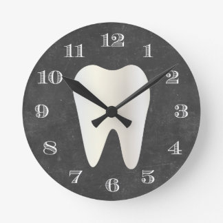 Dentist Office Dental Care White Tooth Chalkboard Round Clock