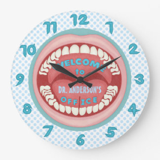 Dentist Office Novelty Personalized Teeth Dental Large Clock