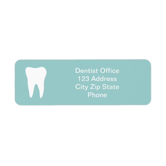Dentist office return address labels   tooth logo