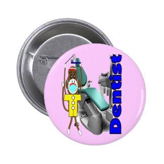 Dentist Sock Monkey--Adorable 2 Inch Round Button