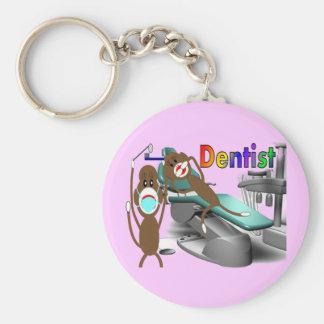 Dentist Sock Monkey Gifts--Unique Basic Round Button Keychain