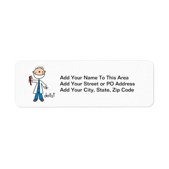 Dentist Stick Figure Return Address Label