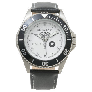 Dentistry Custom Name Elegant Black|White Watch