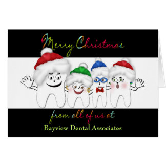 DENTIST'S CHRISTMAS CARD - TOOTH STAFF / SANTA HAT