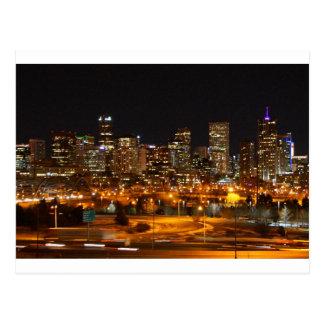 Denver at night postcard