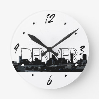 Denver black white skyline decorative wall clock