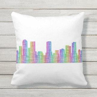 Denver city skyline outdoor pillow