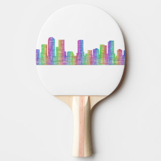 Denver city skyline ping pong paddle