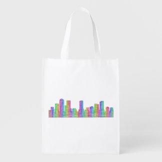 Denver city skyline reusable grocery bag