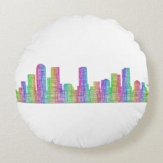 Denver city skyline round pillow