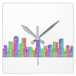 Denver city skyline wall clocks