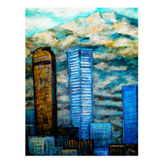 Denver Cityscape, Postcard Painting