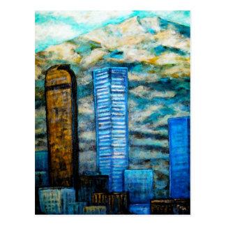 Denver Cityscape, Postcard Painting