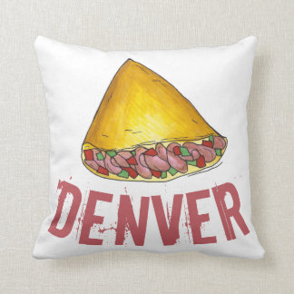Denver CO Colorado Omelette Egg Omelet Foodie Throw Pillow
