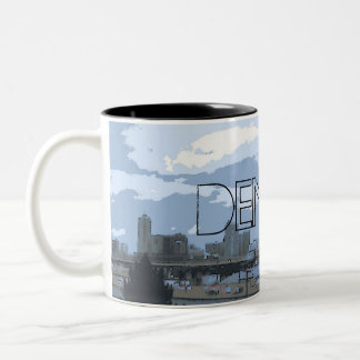Denver Colorado artistic skyline coffee mug
