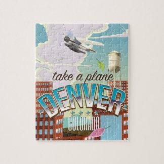 Denver Colorado Cartoon travel poster. Puzzles