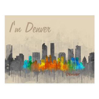 Denver Colorado City Skyline Hq v3. i'm Denver Postcard