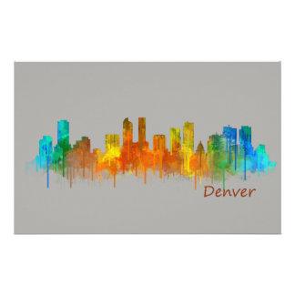 Denver Colorado City Watercolor Skyline Hq v2 Stationery