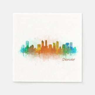 Denver Colorado City Watercolor Skyline Hq v3 Paper Napkins