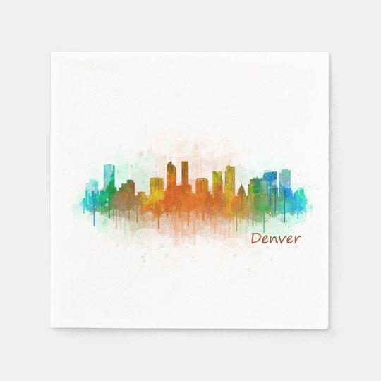 Denver Colorado City Watercolor Skyline Hq v3 Paper Napkins