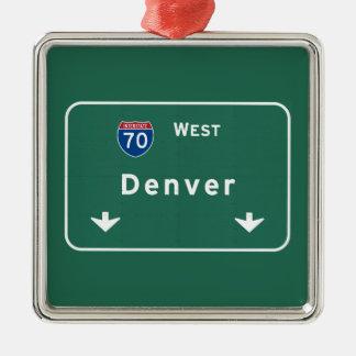 Denver Colorado co Interstate Highway Freeway : Metal Ornament