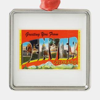 Denver Colorado CO Old Vintage Travel Souvenir Silver-Colored Square Ornament