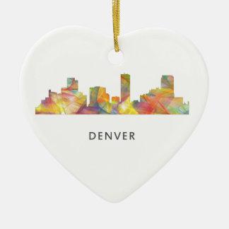 DENVER, COLORADO SKYLINE WB1 - CERAMIC HEART ORNAMENT