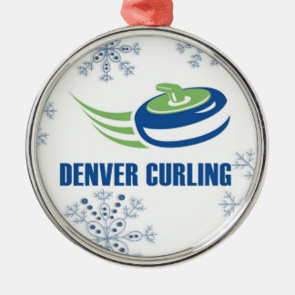Denver Curling Snowflake Silver-Colored Round Ornament