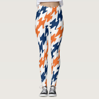 Denver Football Orange Blue and White Team Colors Leggings