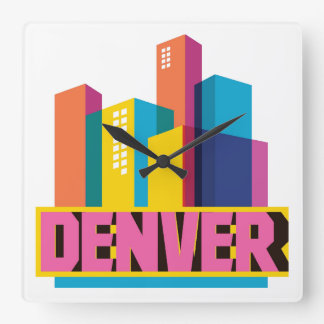 Denver In Design Square Wall Clock