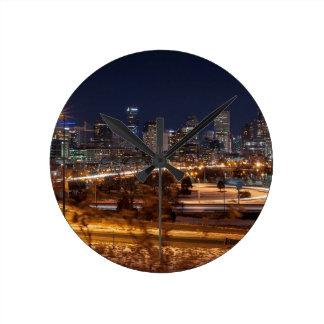 Denver Night Skyline Round Clock