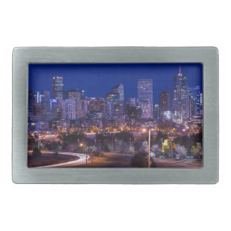 Denver Skyline At Night - Colorado Rectangular Belt Buckles