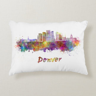 Denver skyline in watercolor accent pillow