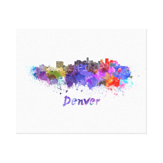 Denver skyline in watercolor canvas print