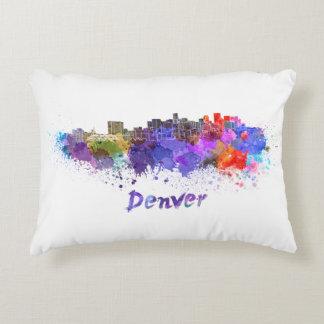 Denver skyline in watercolor decorative pillow