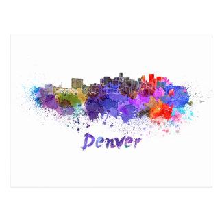 Denver skyline in watercolor postcard