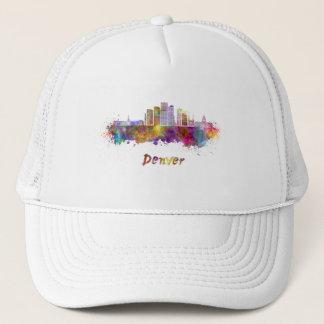 Denver skyline in watercolor trucker hat