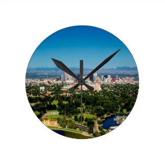 Denver Skyline Round Clock
