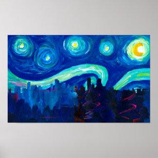 Denver Skyline Silhouette at Starry Night Poster