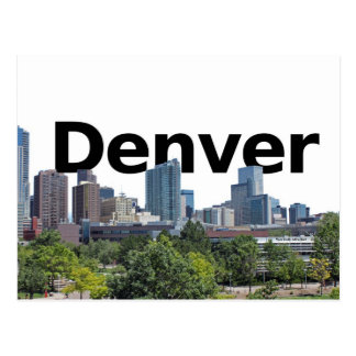 Denver Skyline with Denver in the Sky Postcard