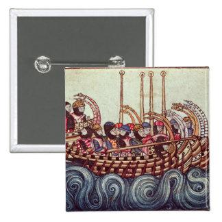 Départ d'un bateau pour les croisades, macaron carré 5 cm