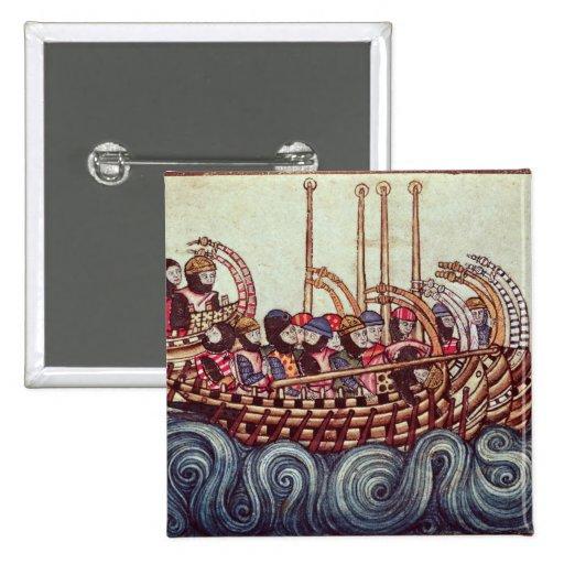 Départ d'un bateau pour les croisades, badges avec agrafe