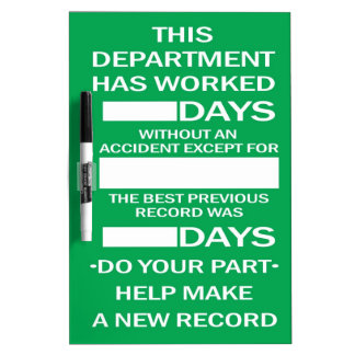 Department Accident Free Scoreboard Dry Erase Board