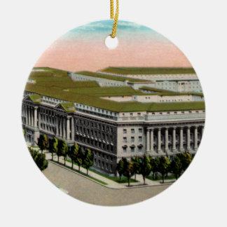 Department of Commerce Vintage Round Ceramic Ornament