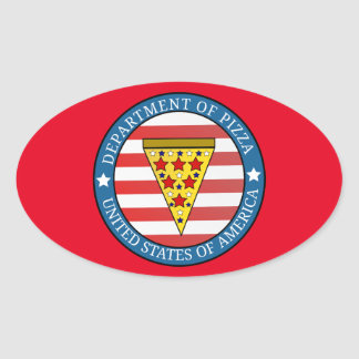 Department of Pizza Oval Sticker