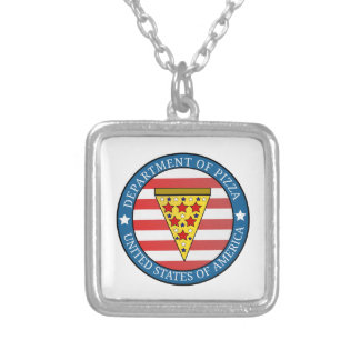 Department of Pizza Silver Plated Necklace